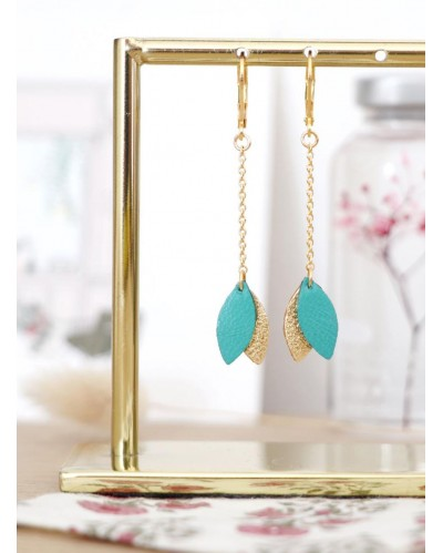 Boucles d'oreilles Mino - Turquoise & Or